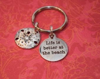 Life is better at the beach keychain-beach keychain, sand dollar, beach  gift
