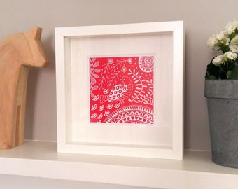 Florence Dove in magenta, small framed Scandinavian folk art print, bird lover linocut print