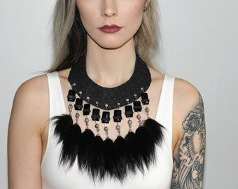 Luna - Fish leather and recycled fur necklace