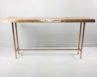 rustic sofa table live edge coffee table copper table industrial furniture modern