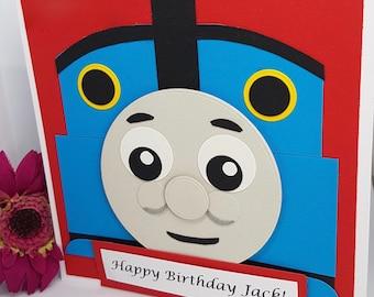Personalised Thomas Tank Engine Children's Birthday Card Handmade Kids BD44