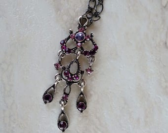 Plum and Gunmetal Vintage Necklace