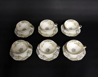 Porcelain cups and saucers 6 PCs Bareuther-Bavaria-polished