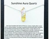 Sunshine aura crystal- raw crystal necklace- healing crystal jewelry- gift for seasonal depression- yellow crystal quartz- sunshine quartz