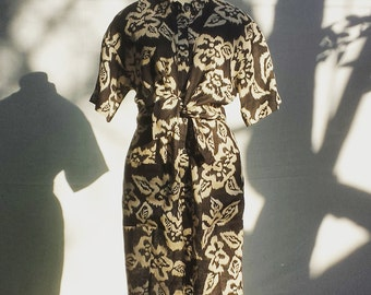 1980's Adrienne Vittadini linen dress - floral pattern - black and ivory