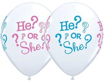 "Gender Reveal Balloons- 11"" Latex Balloons- Boy or Girl Balloons- Baby Shower Balloons-Set of 6"