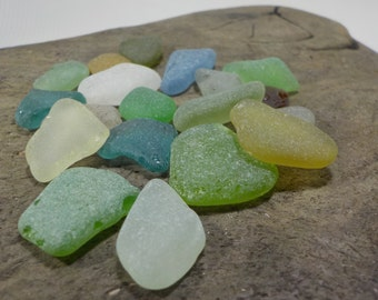 19 pcs-Bulk MIX multicolored perfect smoothed sea glass- Genuine Sea Glass - For Jewelry Art- Mosaic Glass#270#