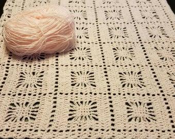 Pink Baby Blanket/Baby Girl Blanket/Crib Blanket/Spider Stitch Blanket/Crochet Blanket/Baby Shower Gift