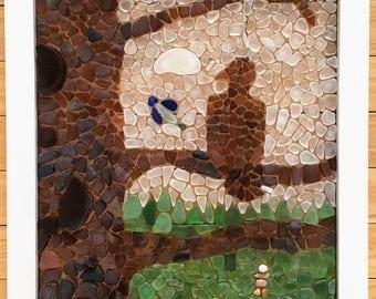 Sea Glass Mosaic - Eagle in a Tree