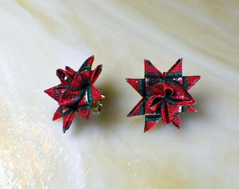 Red and green plaid ribbon with red on points #F52