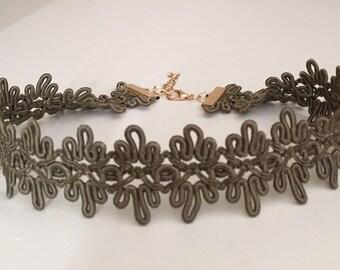 Choker/Choker necklace/Braided choker/Olive green choker/Fashion jewelry