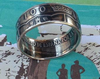 1966 Spain 100 Pesetas Silver Coin Ring (80% Silver)