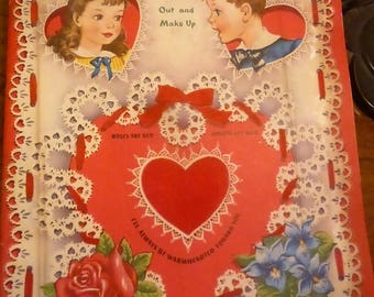 Vintage Whitman 1948 Unused Flocked Valentines
