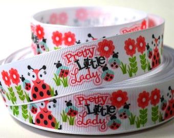 "1"" Ladybugs - Pretty Little Lady Ladybug - Printed Grosgrain Ribbon"