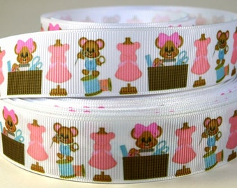 """1"""" Cute Little Sewing Mouse - Grosgrain Printed  Ribbon"""