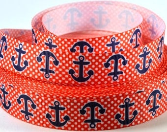 "7/8"" Blue Anchors on Red/White Polka Dot Grosgrain Ribbon"