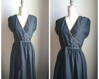 Vintage 70s Black & Gold Wrap Poly-Blend Dress