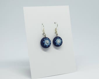 handmade earrings made from polymer clay - blue flower