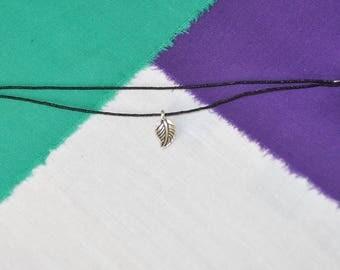 Handmade Black Cord Adjustable Leaf Bracelet