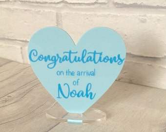 Personalised New Baby Card, New Baby Gift, Baby Boy, New Arrival, Baby Congratulations, It's a Boy, Acrylic Heart