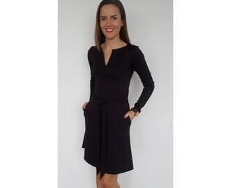 Womens dress, Womens eggplant dress, Aubergine dress, Office dress, Viscose dress, Slim fit dress, V neckline dress, Purple dress - ND613B