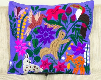 Mexican Pillow Cover Hand embroidery