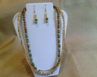 292 Tigerskin Jasper Three Strand Beaded Necklace