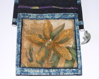 Cross Body Bag, Japanese design, Small shoulder bag, Floral pattern, Cotton purse, Bohemian Style, Hippy purse, OOAK, Casual purse,40