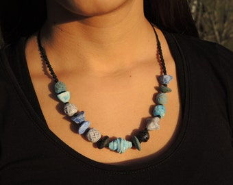 Blue Terracotta and turquoise necklace