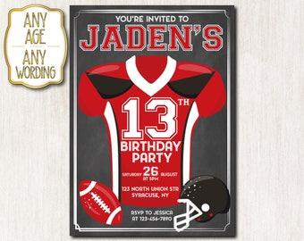 American Football Invitation, American Football Birthday Invitation, 13th Birthday Invitation, Football birthday invitation, ANY AGE - 1654