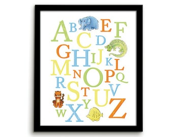 ABC Print Alphabet Letters Animal Nursery Animal Alphabet Alphabet Nursery Playroom Art Alphabet Art ABC Art Letter Art Alphabet Print