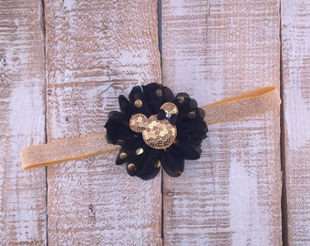 Minnie Mouse Inspired Headband, Birthday Headband, Black & Gold Headband, First Birthday Headband, Photo Prop, Cake Smash