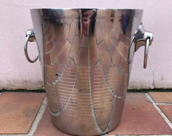 Vintage French Champagne French Ice Bucket Cooler made in france silver plated