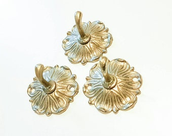 Brass hooks, set of 3, retro hooks
