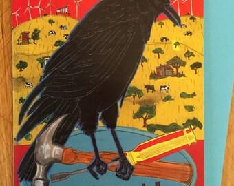 Good Work Crow Card