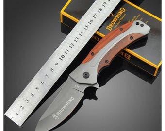 Pocket BROWNING 8.5 cm handle steel blade folding knife wood Outdoor 11 cm