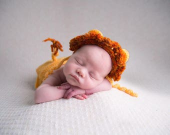 Handmade crochet Lion Cub Photoshoot prop outfit