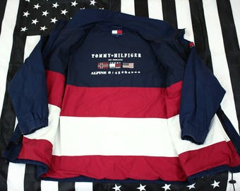 Vintage 90s Tommy Hilfiger Alpine Flag Jacket Size L Spellout Norway USA Oversized Colorblocking
