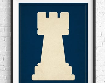 Chess Art, Rook Chess Piece Print, Board Game Art, Game Room Wall Art, Game Room Art, Game Room Decor, Nerd Gift, Geek Gift, Gifts for Dad