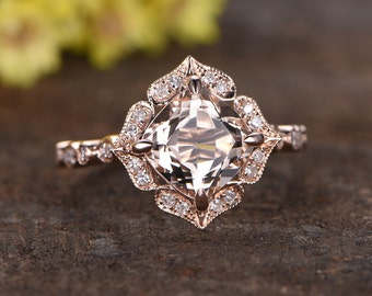 7mm cushion cut morganite ring,Halo diamond wedding band 14k rose gold  engagement ring,1.5ct pink natural gemstone,diamond matching band