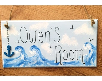 bedroom door sign / seaside / nautical theme / anchor / hand painted sign / deep blue sea / clouds