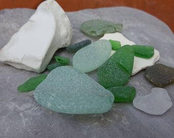 Seaglass and sea pottery lot from Ireland, aquarium supplies, crafts supplies, beach finding, #65