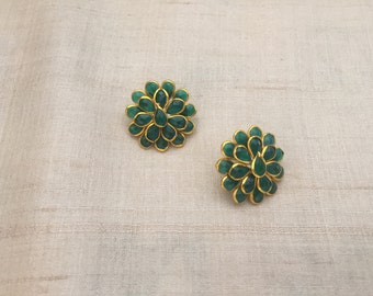 Green Pacchi Kari Indian Button,Jaipur Jewellery Layered Charm,Ethnic Rajasthan Bead,Indian Floral Jewellery Supply 2.5cm Dia,Price for 2 pc