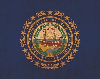 Vintage New Hampshire  Flag on Canvas, New Hampshire Flag, Wall Art, New Hampshire Photo New Hampshire Print, Single or Multiple Panels