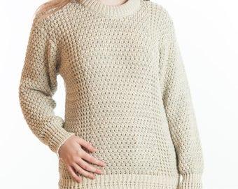 Ladies Popcorn and Honeycomb Stitch Long Sleeve Crew Neck Sweater