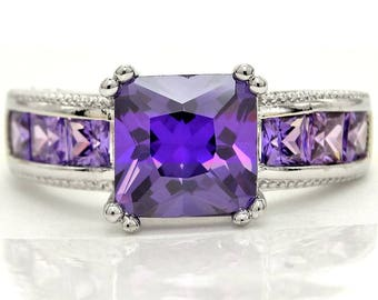 Hallmarked real silver ring, Princess deep purple gems, 925 Sterling silver hallmarked, Purple, Princess square purple gemstones, Gift box