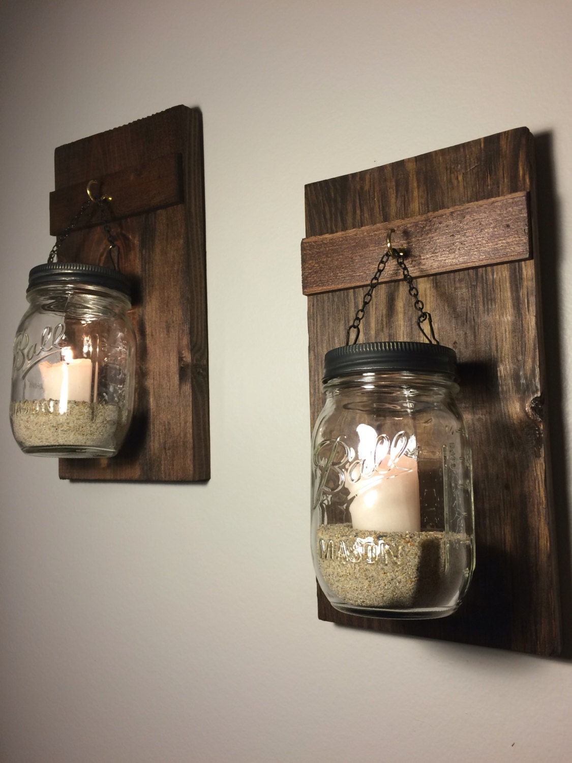 Set of 2 hanging mason jars rustic home decor by for Rustic house candles