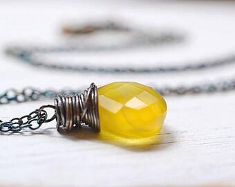 Yellow Chalcedony Necklace, Oxidized Sterling Silver Chain, Honey Yellow Quartz Gemstone Jewelry, Blackened Wire Wrap