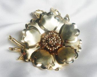 Huge Gold Tone Flower Vintage Brooch, Vintage Brooch, 1960s, Gold Brooch, Flower Brooch