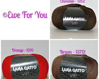 VIP yarn by Lana Gatto - Several Solid Colors Available, Perfect for baby, gifts, accessories, hats, toys, blankets, hats and more